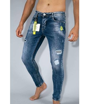 True Rise Jeans With Paint Splashes - Skinny Fit Jeans - A35A - Blue