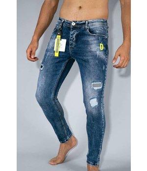 True Rise Ripped Skinny Fit Jeans - A35A - Blue