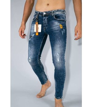 True Rise Jeans With Paint Splashes - Paint Drops Jeans - A35B - Blue