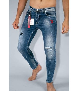 True Rise Skinny Jeans Men - Paint Drops Pants - A35C - Blue