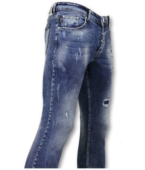 True Rise Pants With Stains - Skinny Jeans Men - A35D - Blue
