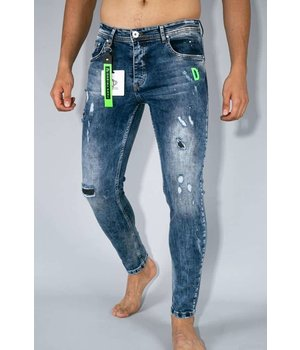 True Rise Painted Ripped Jeans For Men  - A35E - Blue