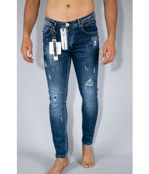 True Rise Painted Ripped Jeans Men - A18A - Blue