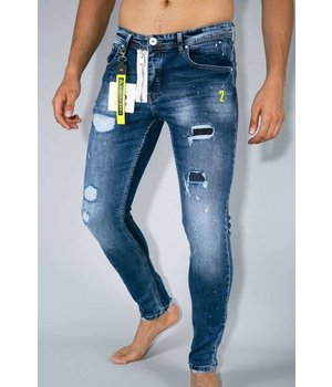 True Rise Painted Ripped Men Jeans - A18B - Blue