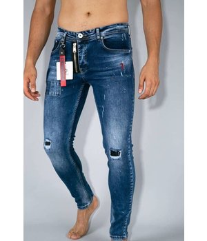 True Rise Painted Ripped Jeans  - A18C - Blue
