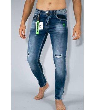 True Rise Ripped Paint Drops Jeans Men - A18E - Blue