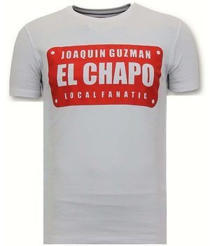Local Fanatic Luxury Men's T-shirt - Joaquin El Chapo Guzman - White