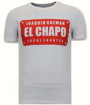 Local Fanatic Printed T Shirt  El Chapo - White