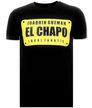 Local Fanatic Printed T Shirt  El Chapo - Black
