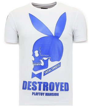 Local Fanatic Destroyed Playtoy Men T Shirt  - White