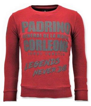 Local Fanatic Padrino Corleone Men Sweatshirt - Red