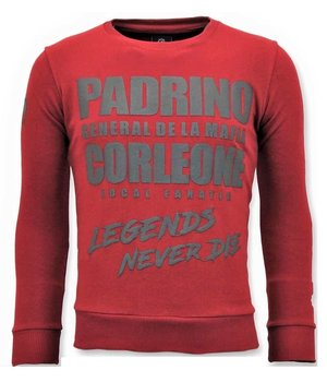 Local Fanatic Tough Men Sweater - Padrino Corleone - Red
