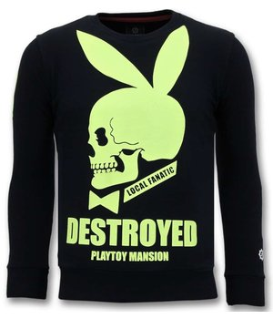 Local Fanatic Luxury Men Sweater - Destroyed Playtoy - Black