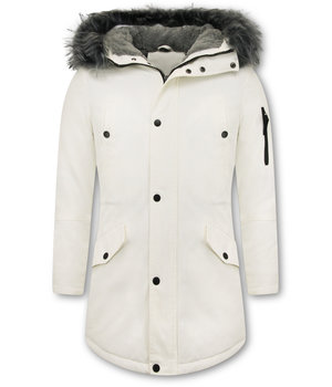 Enos Winter Jackets Long - Fake fur collar - White