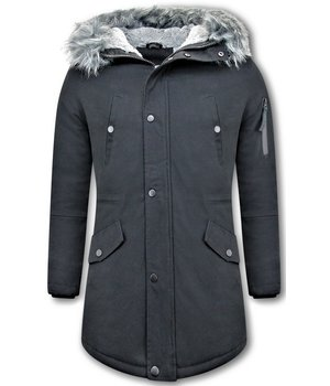 Enos Winter Jackets Long - Fake fur collar - Black