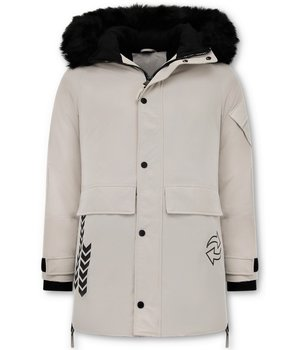 Enos Parka Jacket Men - Fake fur collar - Beige