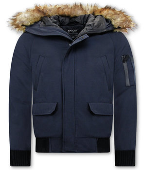 Enos Winter Coat Fake Fur Collar -  Blue