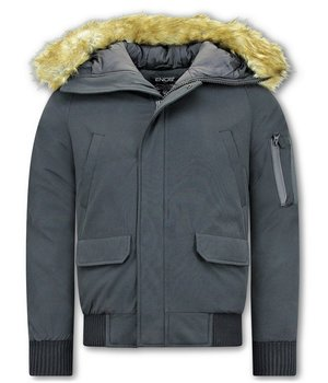 Enos Winter Jackets For Men Short - Fake fur collar - Black