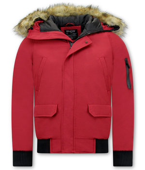 Enos Winter Jackets For Men Short - Fake fur collar - Red