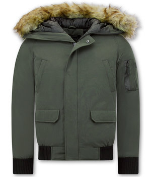 Enos Winter Jackets For Men Short - Fake fur collar - Green