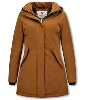 Matogla Women Winter Coat Plain - 0681 - Brown