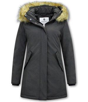 Matogla Plain Women Winter Coat - 0681 - Black