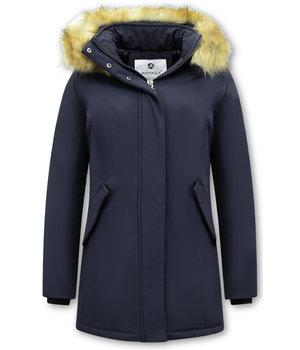 Matogla Plain Women Winter Coat - 0681 - Navy