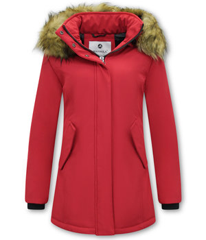 Matogla Parka Women - Fake fur collar - Slim Fit - Red