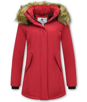 Matogla Plain Women Winter Coat - 0681 - Red