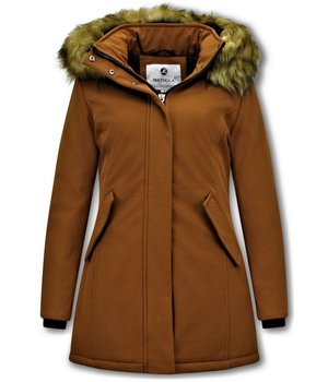 Matogla Fake Fur Winter Coat Women - 0681 - Brown