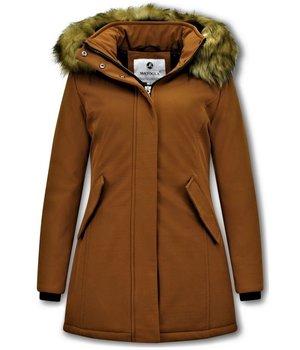 Matogla Plain Women Winter Coat - 0681 - Brown