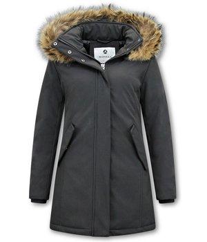 Matogla Women Winter Coat Plain - 0681 - Black