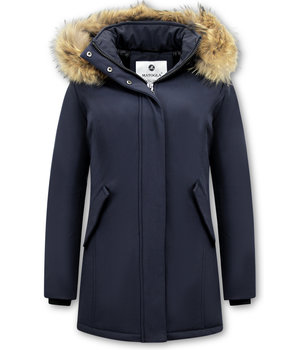 Matogla Fox Fur Winter Coat Women - 0681 - Blue