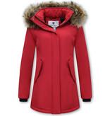 Matogla Parka Women - Genuine Fur collar - Slim Fit - Red