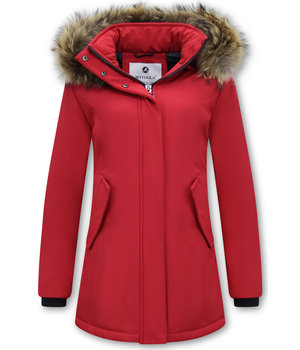 Matogla Parka Women - Genuine Fur collar - Slim Fit - Red