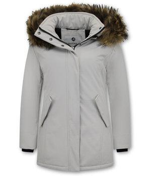 Matogla Women Winter Coat Plain - 0681 - White