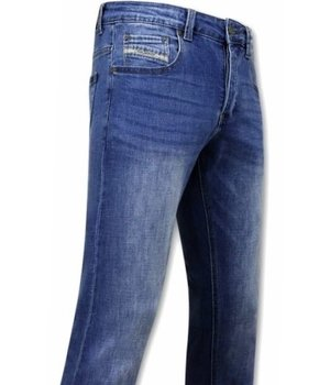 True Rise Plain Stretch Jeans - A-11006 - Blue