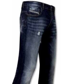 True Rise Ripped Jeans For Men - A-11016 - Blue