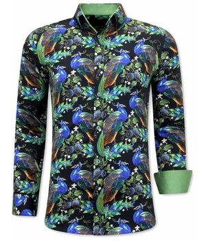 Tony Backer Peacock Printed Shirt - 3065 -  Black