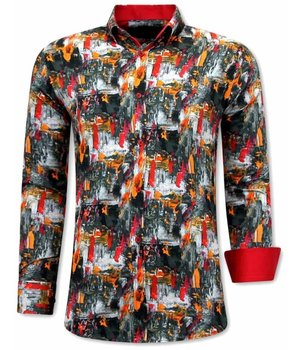 Tony Backer Mix Painted Men Collar Shirt  - 3064 - Red