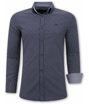 Tony Backer Printed Shirt For Men - 3077 - Navy