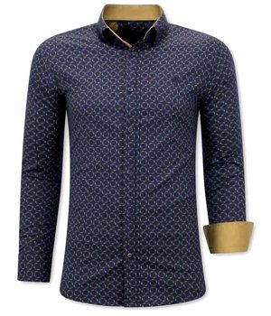 Tony Backer Motif Paint Collar Shirts - 3076 - Navy