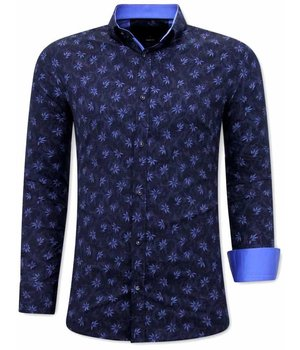 Tony Backer Printed Flower Shirt - 3074 - Navy