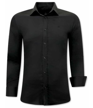 Tony Backer Plain Collar Shirts - 3078 - Black