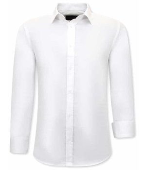 Tony Backer Plain Collar Shirts For Men - 3079 - White