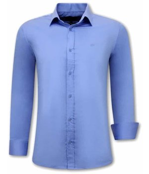 Tony Backer Plain Collar Shirts For Men - 3082 - Blue