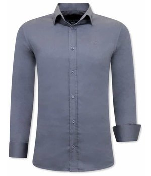 Tony Backer Plain Collar Shirts For Men - 3080 - Grey