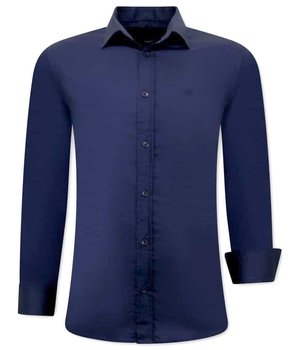 Tony Backer Plain Collar Shirts For Men - 3081 -  Navy