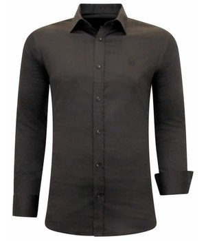 Tony Backer Plain Collar Shirts For Men - 3084- Brown