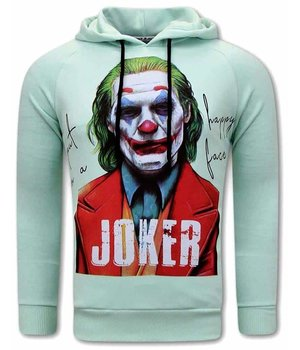 Tony Backer Joker Print Men Hoodies - Turquoise